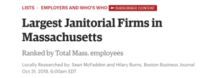 Boston Business Journal Ranks Largest Janitorial Service Providers